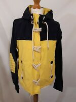 Superdry Hooded Dock Duffle Coat - Size L - Navy & Yellow