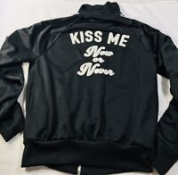 "Forever 21 Twenty One Black Jacket Active Sz L "" Kiss Me Now Or Never"" Large"