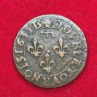 #1650 - RARE - Louis XIII Double tournois Gaston 1635 B Rouen RARE - FACTURE