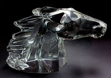 "Rare Vintage Daum ""Tete de Cheval"" Horse Head Crystal Glass Figurine Sculpture"