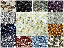 CHOOSE COLOR! 25pcs 6x6mm 2-hole Pyramid Beads Czech Glass