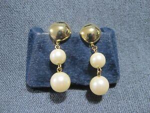 Vintage signed Les Bernard Inc faux pearl dangles goldtone metal clip earrings
