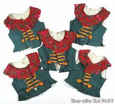 LOT 5 Polish folk costume dance vests green & red Slask Poland ethnic clothing