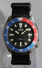 SEIKO Vintage 7002-700A Pepsi Bezel Diver Watch Automatic Black Nylon Strap
