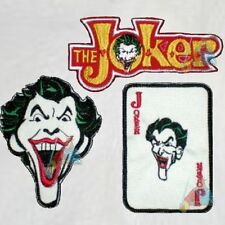 Batman Set 3 Embroidered Patches The Joker Face Word Logo Card Super Powers