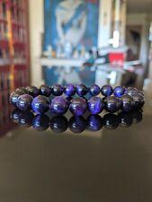"Purple Tiger Eye Bead Bracelet for Men (Stretch) 10mm 7"", 7.5"", 8"", 8.5"" inch"