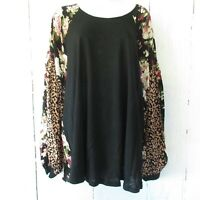 New Umgee Top XL Floral Leopard Animal Raglan Puff Sleeve Boho Peasant Plus Size