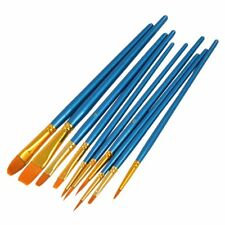 10Pcs Round Pointed Acrylic Watercolor Tip Nylon Hair Artists Paint Brush Set