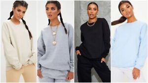 Womens Oversized Sweater Jumper Ladies Plain Baggy Loose Sweatshirt Pullover Top