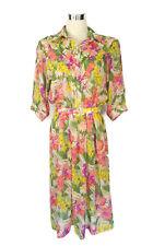 Vintage Dress - Retro Belt Collar Button Floral Pink Purple Yellow Green - 12/14