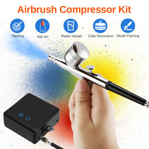 Dual Action 15 Set Airbrush Compressor Set Nail Hobby Makeup Cake Art Painting