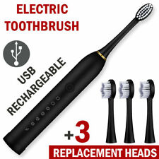 Sonic Electric Toothbrush 6 Modes USB Rechargeable 4 Brush Heads Adults/Kids