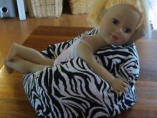 "EXTRA LARGE bean bag beanbag chair for 18"" American Girl doll ZEBRA"