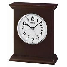 Seiko QXE053B Superior Office Home Wooden Mantel Alarm Clock - Brown / White