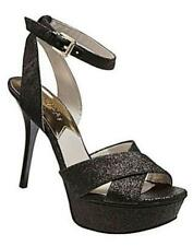 Women's Michael Kors GIDEON Platform Heels Sandals Leather Black Glitter US 9.5