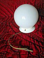 ancien plafonnier-lustre boule opaline vintage 1950-électrique-suspension