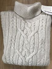 Traditional 100% Wool Aran Roll Neck Beige Jumper Cable Knit Made in England