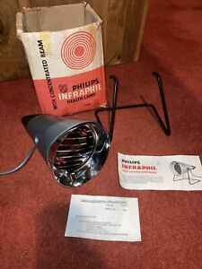 VINTAGE 1970's PHILIPS INFRAPHIL HEALTH HEAT LAMP - WITH WORKING 150w BULB Boxed