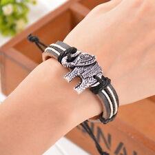 1PC Bone Carving Elephant Pendant Handmade Leather Bracelet Chains 20cm HOT