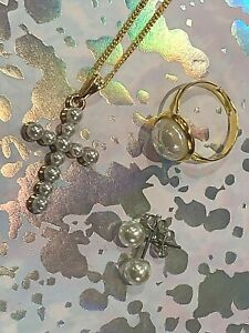 FIRST COMMUNION-JEWELLERY 3 PEICE SET-EARRINGS-CROSS NECKLESS-RING-PEARLS