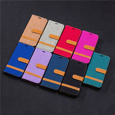 Double Color Denim Wallet PU Leather Flip Case Cover Stand For 2018 Cell Phones