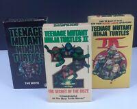 Lot of 3 Teenage Mutant Ninja Turtles VHS Movies Tapes TMNT Trilogy Set 1 2 3