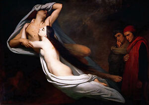 Ary Scheffer, Ghosts of Paolo & Francesca Appear to Dante & Virgil, Canvas Print