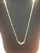 14K Necklace With Genuine Prong Set Ruby and Diamonds
