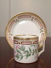 Vtg ROYAL COPENHAGEN Flora Danica #3512 Coffee Cup & Saucer Erythraea Pulchella
