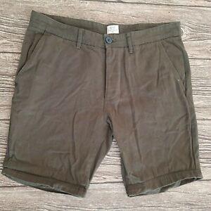 Matalan Mens Khaki Green 100% Cotton Skinny Fit Chino Shorts Waist 34