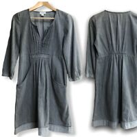 Witchery Dress Size 8 Uk Grey Denim Tunic 3/4 Sleeve Ladies Women's Casual