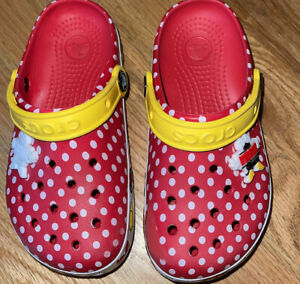 Crocs Minnie Mouse Light Up Slides Size J1 Toddler Polka Dots Red Yellow Disney