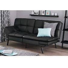 Leather Sleeper Sofa Convertible Futon Couch Loveseat Chair Sectional Bed Black