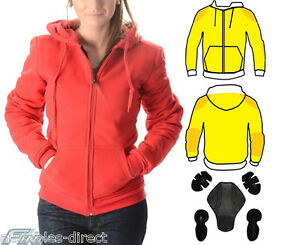 Red Ladies Motorcycle Jacket Hoodie Lined with Knitted Dupont™ Kevlar® 6 8