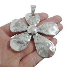 2 x Antique Silver Large Hammered Flower Charms Pendants for Necklace Making