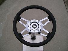 Chrome 4 spokes steering wheel w/adapter for Yamaha car golf cart