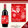 L153 Personalised Merry Christmas Reindeer Rudolph Bauble Wine Bottle Label Gift