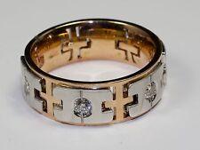 Men's 14k Rose Gold And White Gold Round White Diamond Ring Brush Finish Size 10