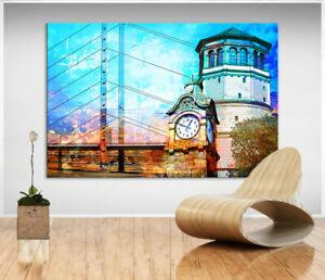 Düsseldorf Skyline Bild Bunt Leinwand Abstrakte Kunst Bilder Wandbilder D2244
