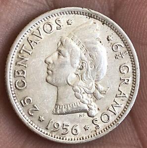 DOMINICANS REPUBLIC 1956 25 CENTAVOS SILVER VERY NICE CONDITION LRD.