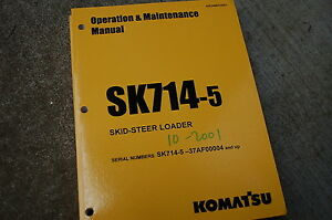 Komatsu SK714-5 Minipala Carico Proprietario Operatore Operazione Cura Manuale