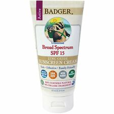 Badger Company, Zinc Oxide Sunscreen Cream, Broad Spectrum SPF 15, Unscented, 2.