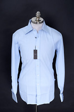 NWT ALFRED DUNHILL Blue Striped Cotton French Cuffs Dress Shirt 15 1/2 L 39