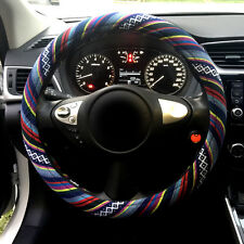Automotive Boho Ethnic Flax Car Accessory Steering Wheel Cover Grip 38cm 15""