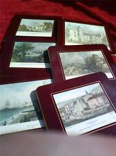 Vintage set of six dark red JHT Sewell & sons place mats of British scenes