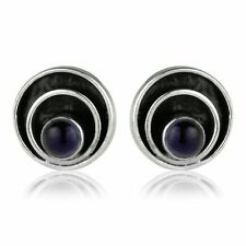 925 Sterling Silver Round Cabachon Purple Amethyst Circle Design Stud Earrings