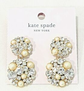 Kate Spade PICK A PEARL Crystal Cluster Double Drop Earrings Gold Plated+pouch