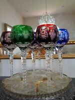 """SET OF 8 AJKA MARSALA CUT TO CLEAR CRYSTAL WINE GOBLET GLASSES 8 1/4"""" TALL"""