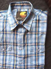 "SoulCal ~ blue check cotton l/sleeve casual shirt reg fit ~ XL - 44"""