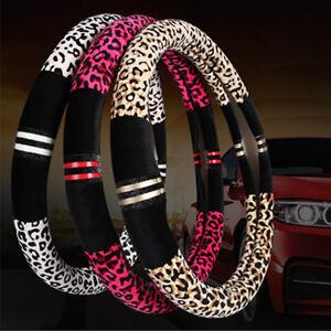 38CM Universal Car Steering Wheel Cover Leopard Print Winter Warm Plush Non Slip